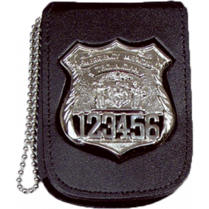 "Perfect Fit Recessed Neck Badge & ID Holder w/ 30"" Chain & Closure"